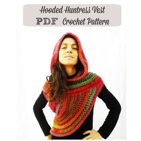 Pattern Hooded Huntress Vest Girl On Fire Cowl Poncho Scarf Super