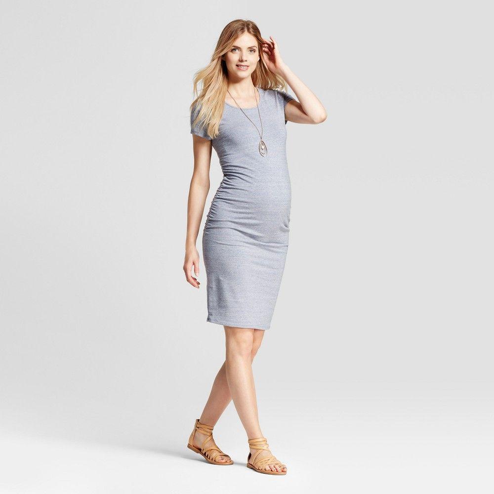 c82b1a27605 Maternity Short Sleeve Shirred T-Shirt Dress - Isabel Maternity by Ingrid   Isabel  Blue Marble Heather L