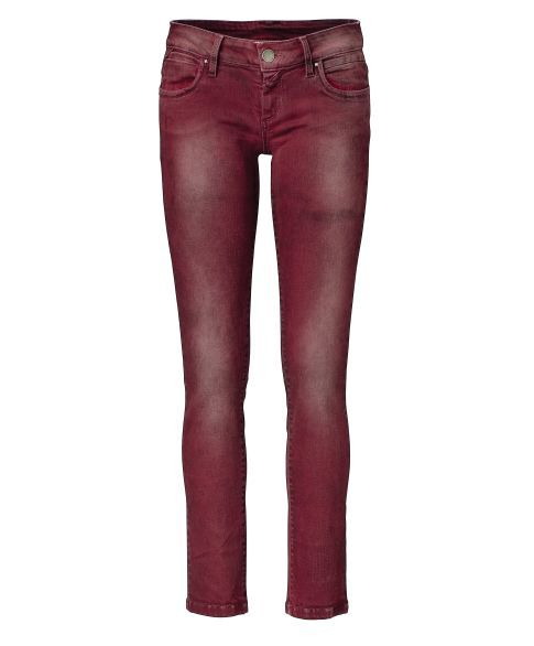 Skinny jeans, five pocket, distressed front view