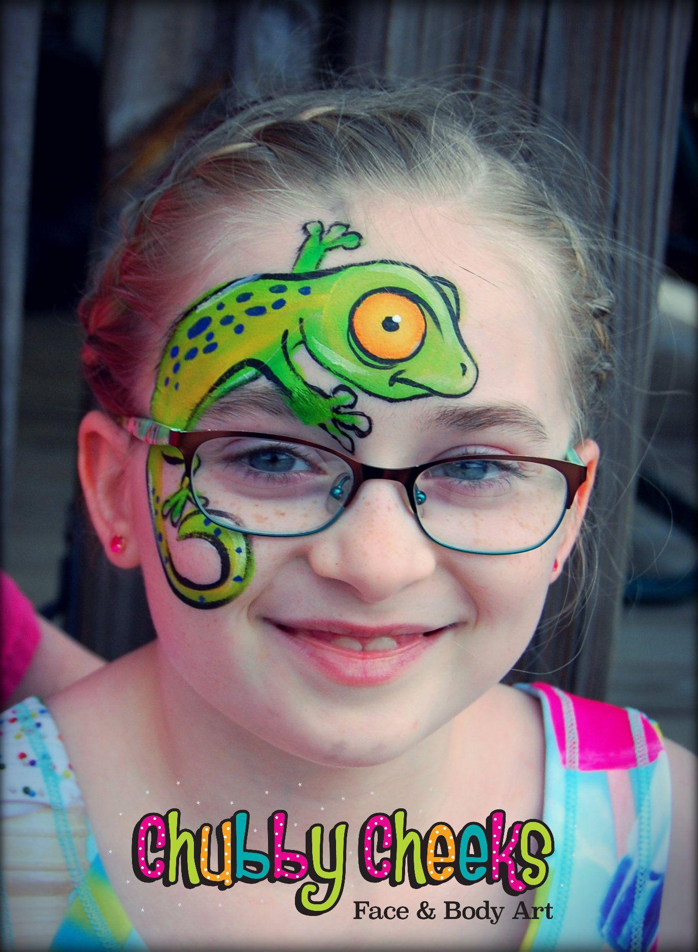 Gecko Face Paint : gecko, paint, ChubbyCheeksFABA, #indiana, #face, #painter, #lizard, #faceandbodyart, #green, #reptile, Kinder, Schminken,, Kinderschminken,, Schminken