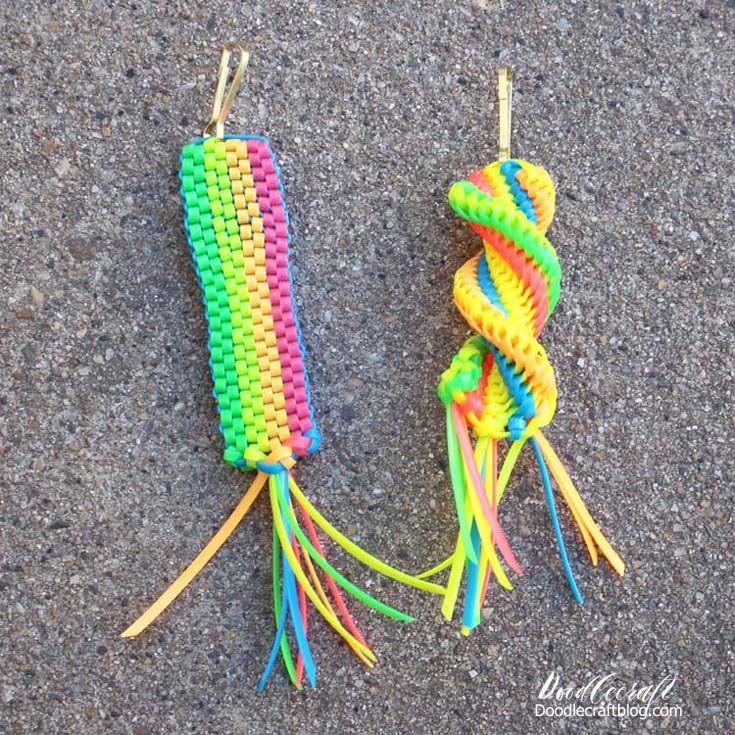 Boondoggle keychains diy tutorial plastic lace crafts