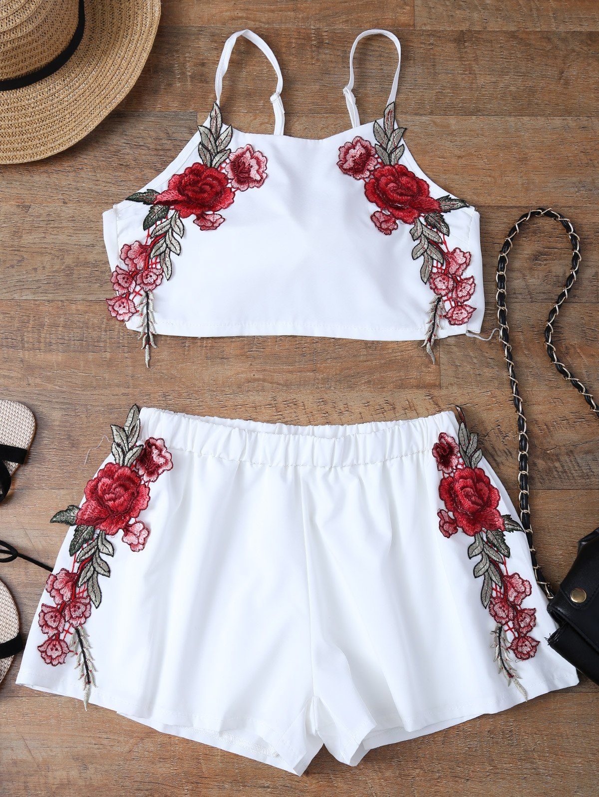 92bf183548bdf $17.66 Embroidered Bowknot Top With Shorts WHITE: Two-Piece Outfits | ZAFUL