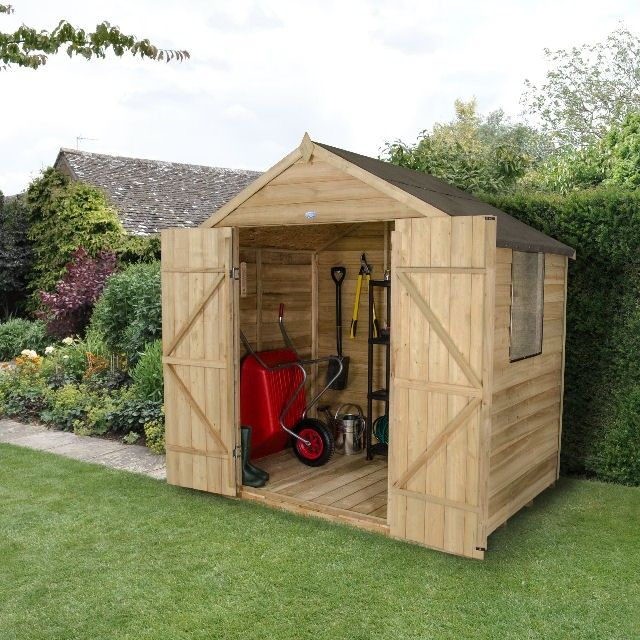 5 X 7 1 44m X 2 07m Forest Overlap Pressure Treated Apex Shed Wooden Sheds Apex Roof Shed