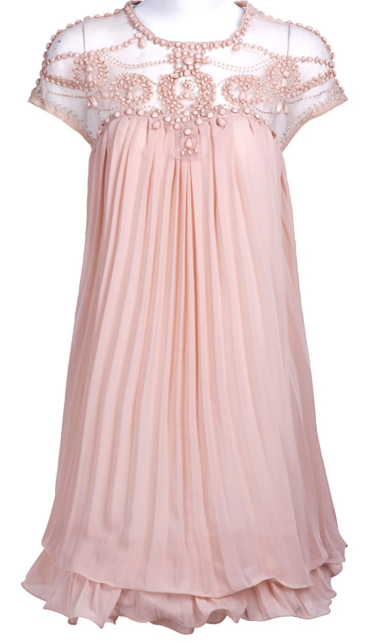 Light pink short sleeve lace pleated chiffon dress a day to