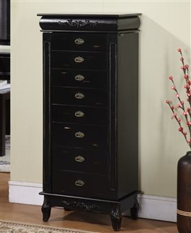 Tall Black Jewelry Armoire Furniture with 8 Drawers Popular Armoire