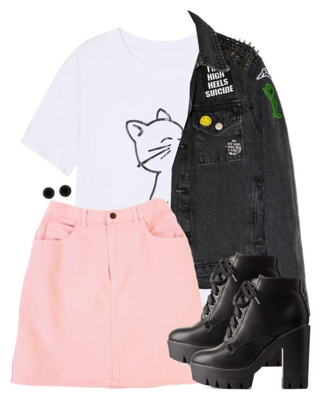 """""""Nymphadora Tonks Inspired Outfit w/ a Black Denim Jacket"""" by hpstyle ❤ liked on Polyvore featuring GUESS, Charlotte Russe and Anne Klein"""