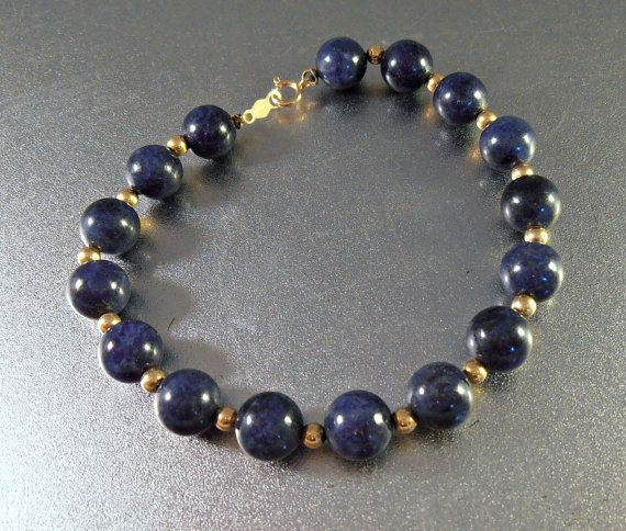 14K Lapis Bracelet Yellow Gold Spacers 11.5 by LynnHislopJewels
