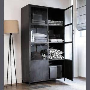 Industriele Vitrine Kast.Industriele Vitrine Kast Groot Metal Glass Caben Furniture Home