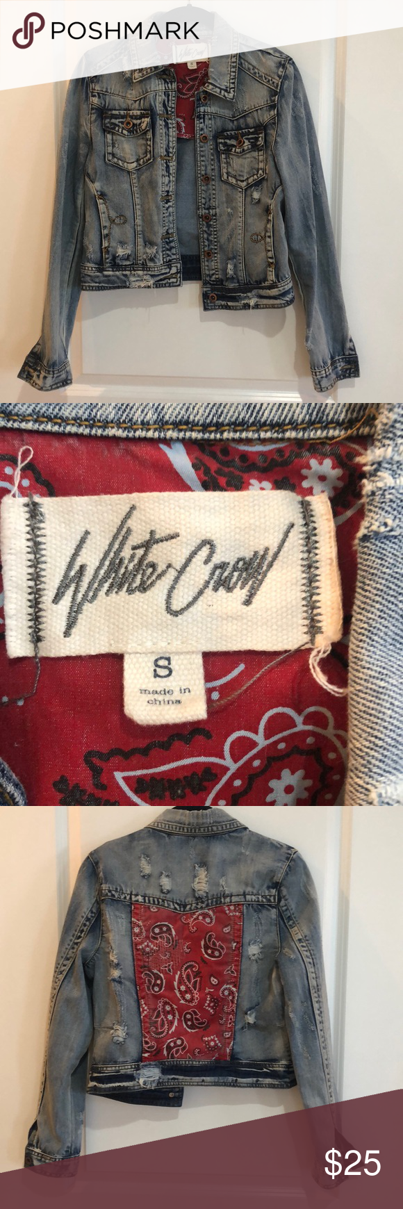 White Crow Jean Jacket With Red Bandana Detail Red Bandana Jean Jacket Jackets [ 1740 x 580 Pixel ]