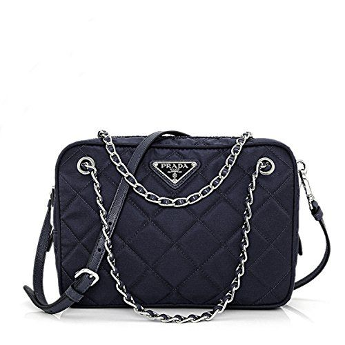 b0b14e5a1b24 Prada Tessuto Impuntu Quilted Nylon Shoulder Chain Handbag, Navy Blue / Bleu