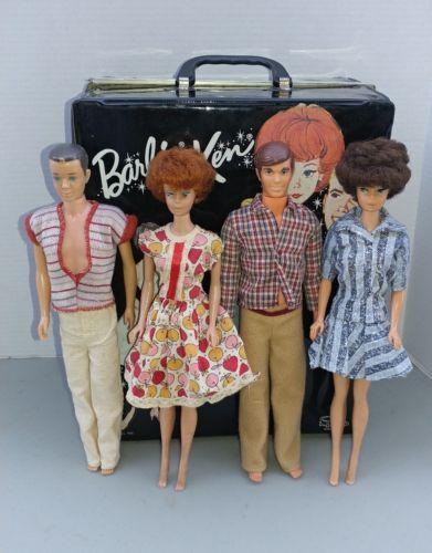 Case-amp-4-Mattel-Barbie-1962-Midge-Red-amp-Brunette-1960-Ken-1968-Walk-Lively-Ken