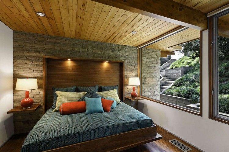 Schlafzimmer Design mit Holzdecke und Steinwand | Wohnideen fürs ...