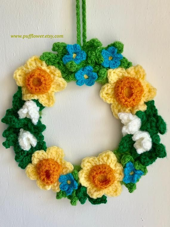 Photo of Mother's Day Gift- Daffodil and snowdrops wreath – spring wreath – crochet wreath – 9'' x 9'' MEDIUM