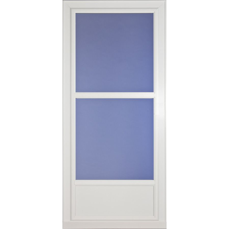 Larson Tradewinds Selection White Mid View Aluminum Storm Door Common 36 In X 81 In Actual 35 75 In X 79 Aluminum Storm Doors Glass Storm Doors Storm Door