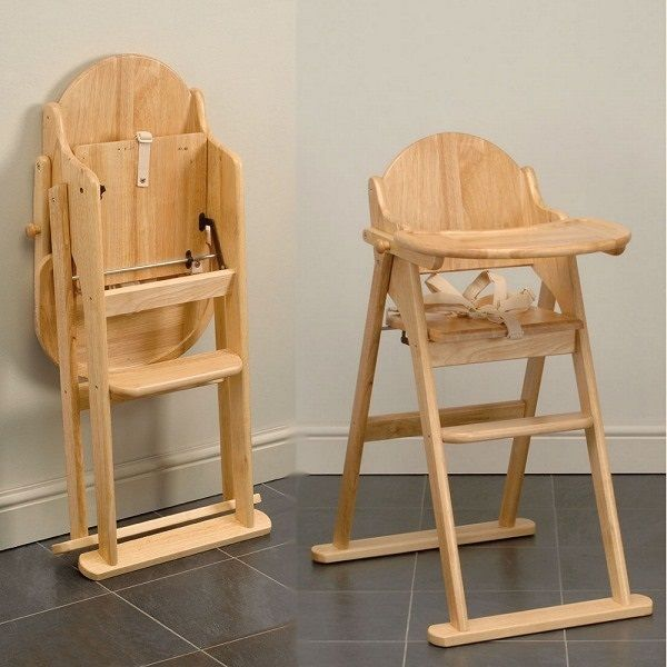 Superior East Coast Folding Highchair (natural All Wood) Antique Finish 1474B
