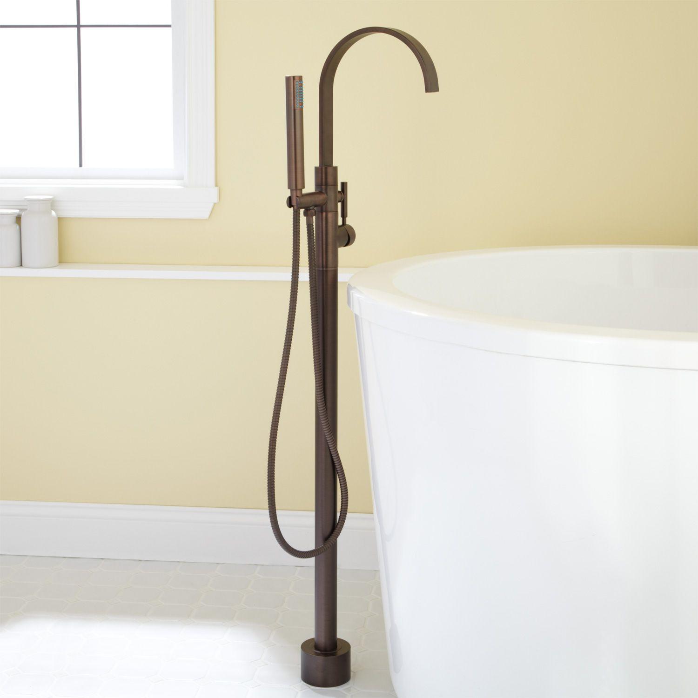 Jenkins Gooseneck Freestanding Tub Faucet With Hand Sprayer Ideas