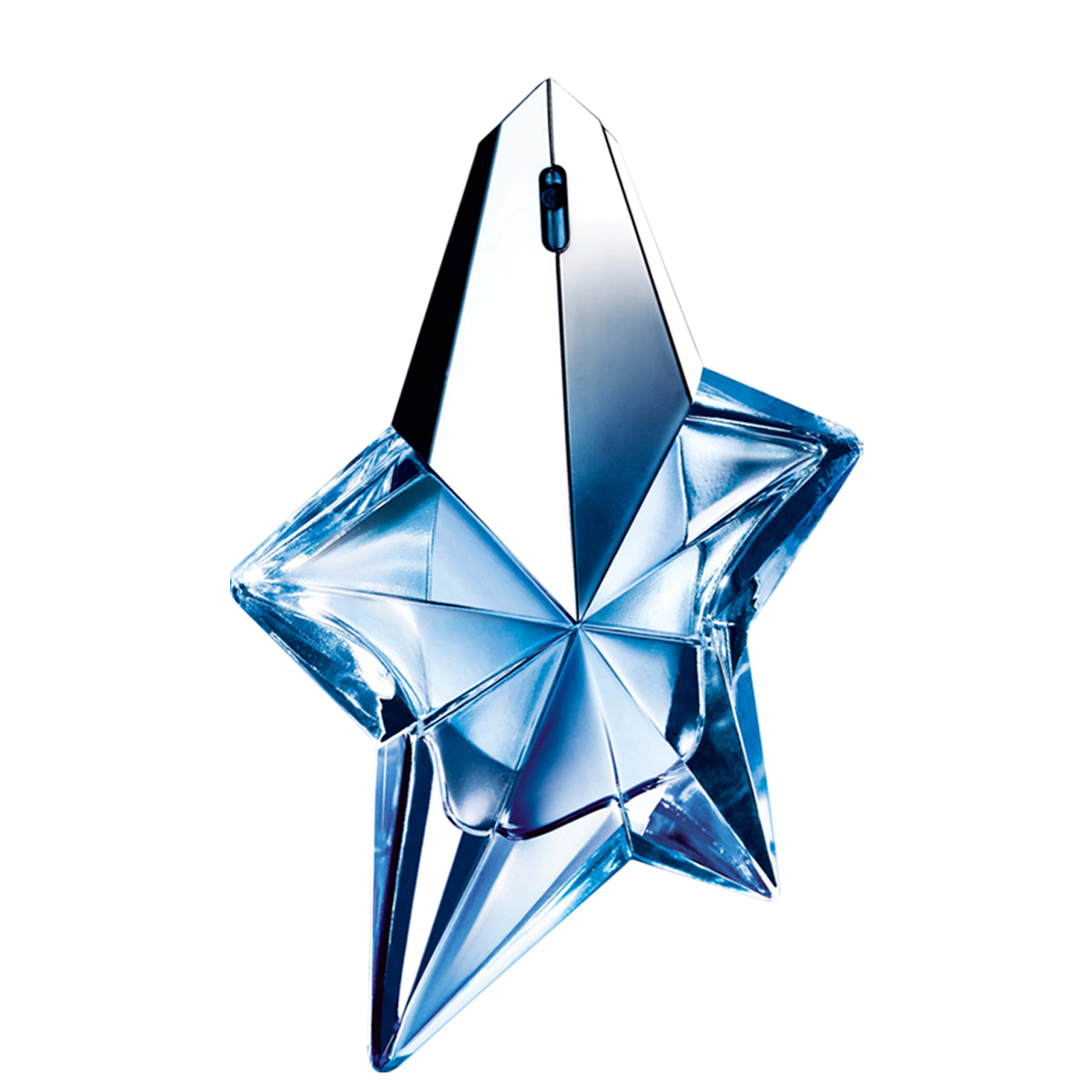 Angel Eau de Parfum Spray – Shooting Star - The Thierry Mugler Angel Shooting Star perfume bottle features blue gems and delicately sculpted facets that reflect light and shadows.  Available in refillable version Fragrance notes: bergamot, tropical fruits, vanilla, caramel and patchouli.