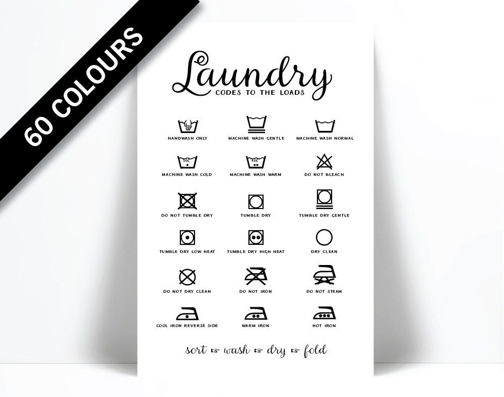 Laundry Symbols Laundry Room Poster Wash And Dry Infographic