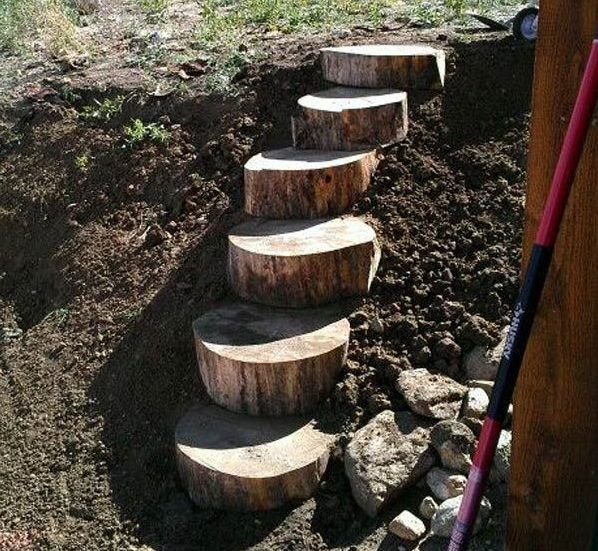 21 Landscaping Ideas For Slopes: 21 Super Easy Wood Log Garden Decorations That You Can Do