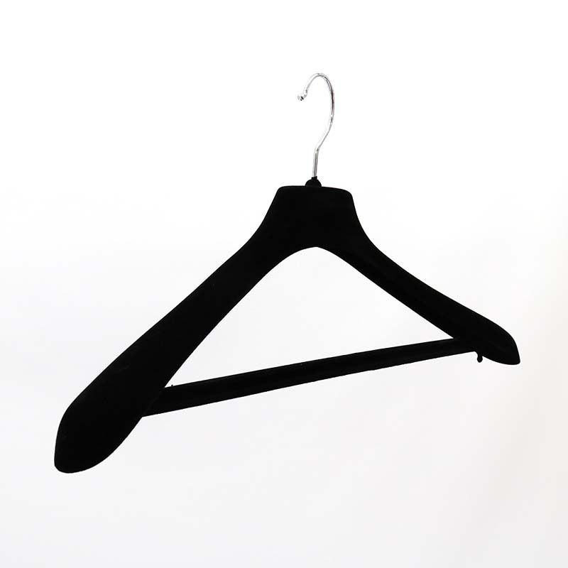 Clothes Velvet Hangers With Bar Black Length 45 7cm Made Of Sy Material Won T Slip Off Surface Standard Size