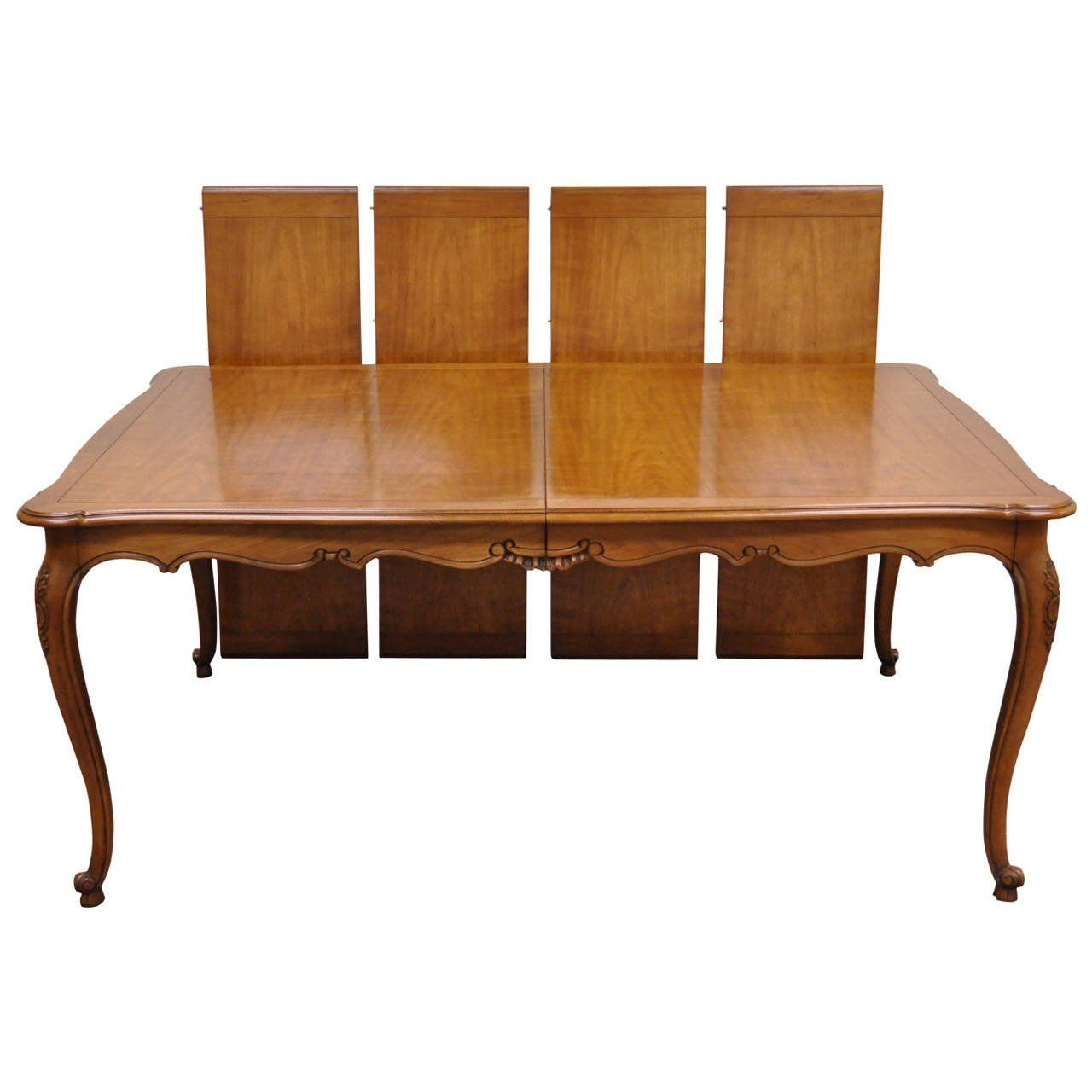 Kindel Borghese French Country Or Louis XV Style Dining Table With Four Leaves