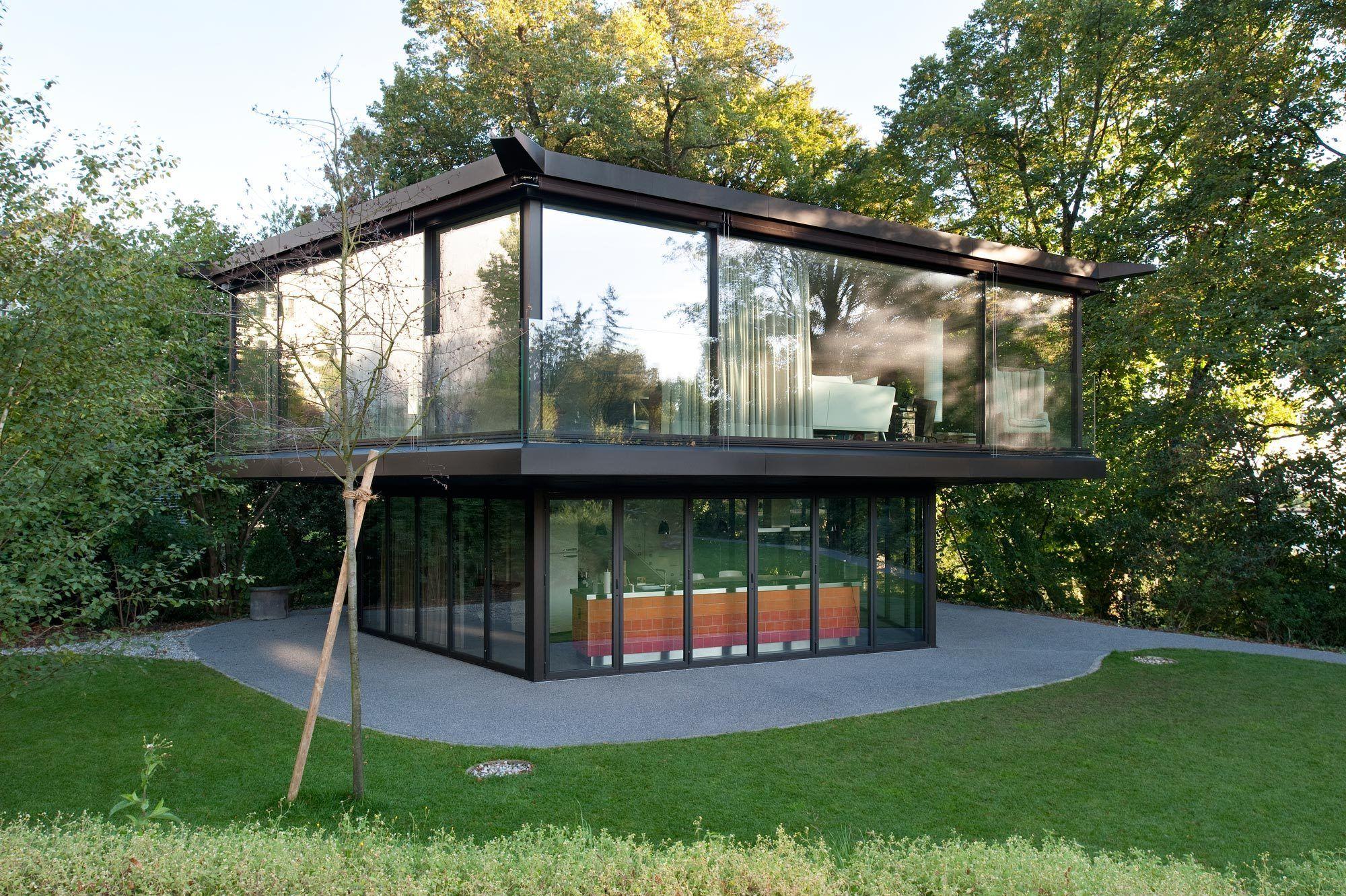 viel glas und eine wand - pavillon mit pool in zürich - zwembaden, Gartengerate ideen