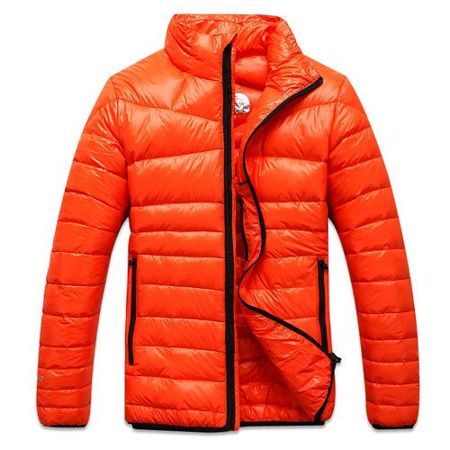 Mens The North Face Black Zipper Down Coat Orange | Winter Jackets ...
