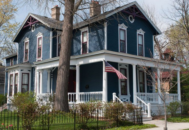 Dark Slate Blue Gray With White Trim And Touches Of Red Victorian