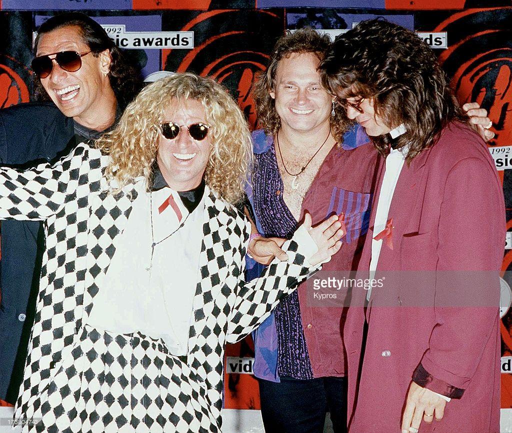 Alex Van Halen Sammy Hagar Michael Anthony And Eddie Van Halen Of Van Halen Sammy Hagar Eddie Van Halen