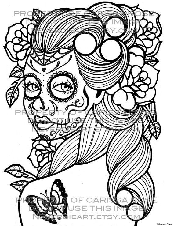 Skull Outline | Coloring Book Outline Page Sugar Skull Girl Tattoo ...