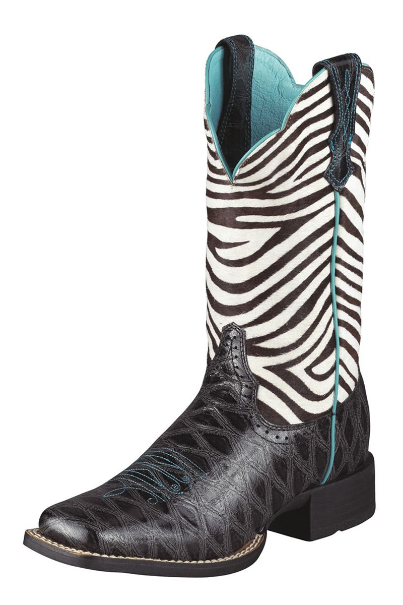 e97440d79f1 Ariat Quickdraw Black Zebra Print Cowgirl Boot ~ I love these but in ...