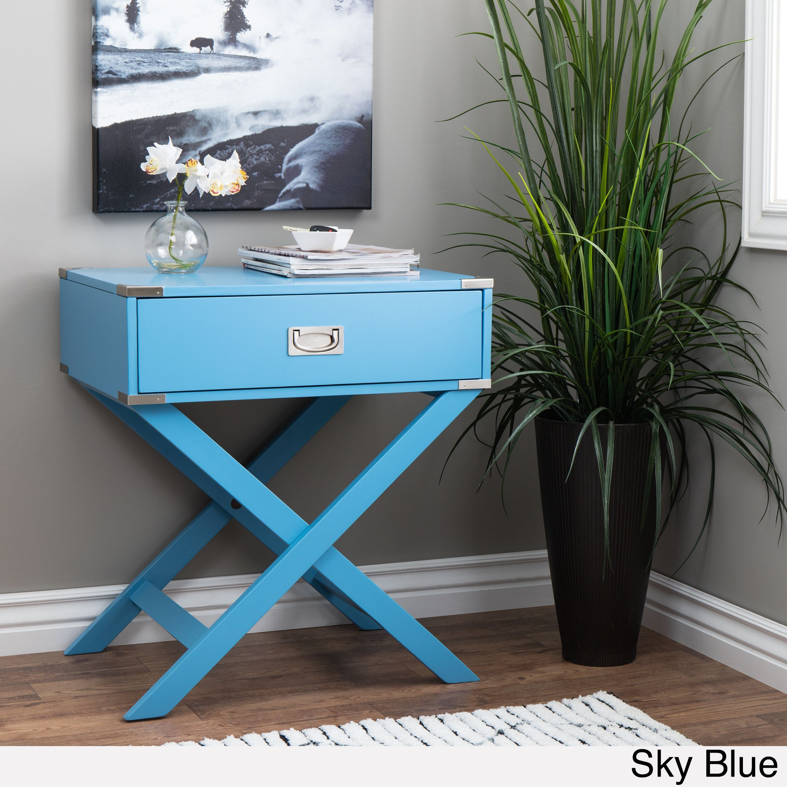 Kenton X Base Wood Accent Campaign Table by Inspire Q (Sky Blue), Size