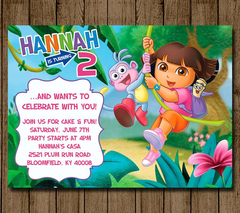 Customized Dora Birthday Invitation Invite Dora the Explorer Boots – Dora the Explorer Party Invitations