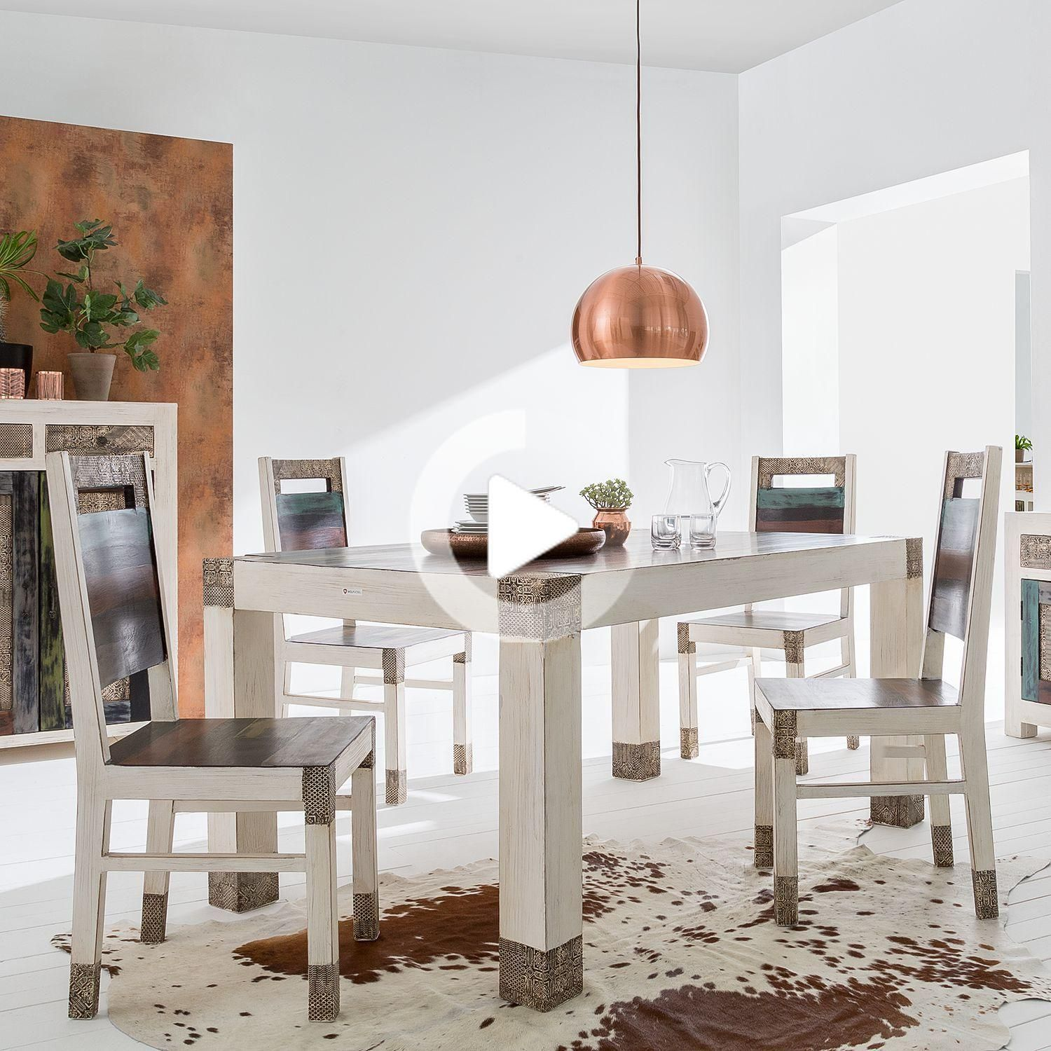 Dining Table Goa White 5 Parts In 2020 Farmhouse Dining Chairs Dining Table Mediterranean Home Decor