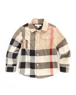 f4c8f5cf66a Burberry Boys  Check Military Shirt