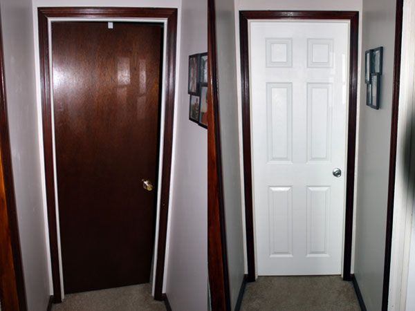 Painted door with stained trim interior doors diy for Wood doors painted trim