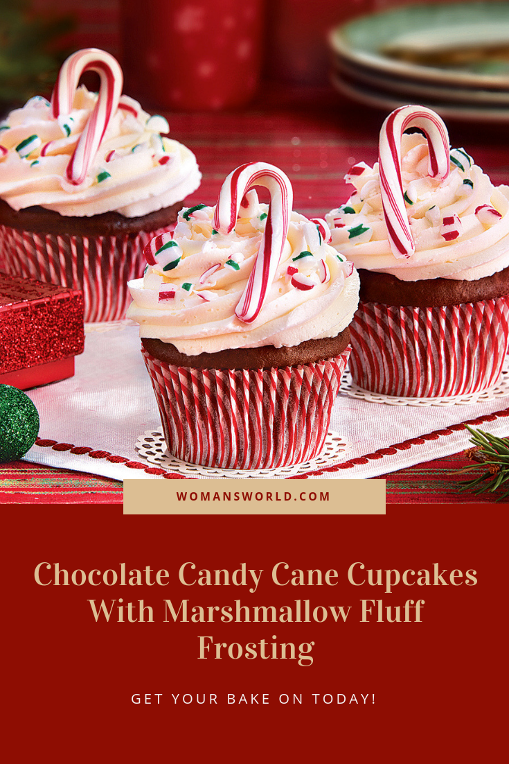 Chocolate Candy Cane Cupcakes With Marshmallow Fluff Frosting #marshmallowflufffrosting