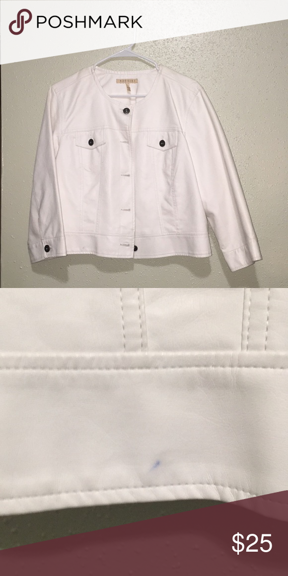 c758c9321 BACCINI Jacket White faux leather jacket. It does have a stain on ...