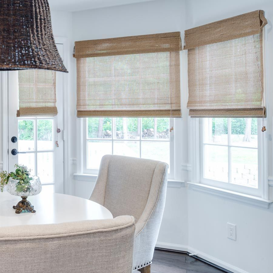 Kitchen nook window treatments  premier modern natural wood shades  woods free and window
