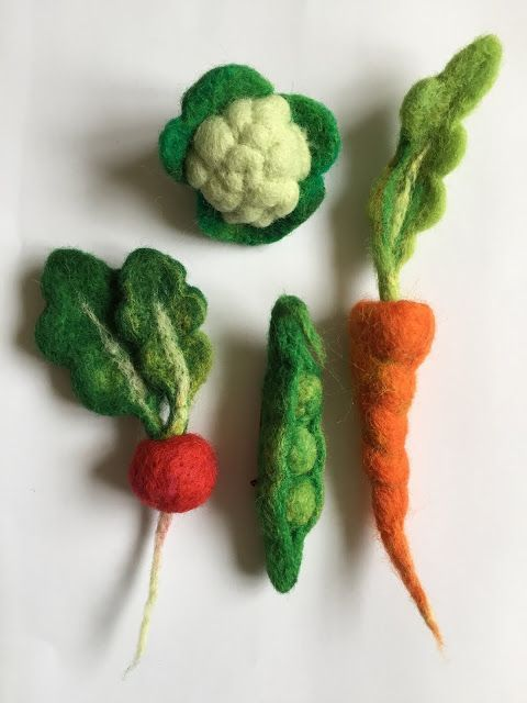 needle felted vegetables - wear what you eat!