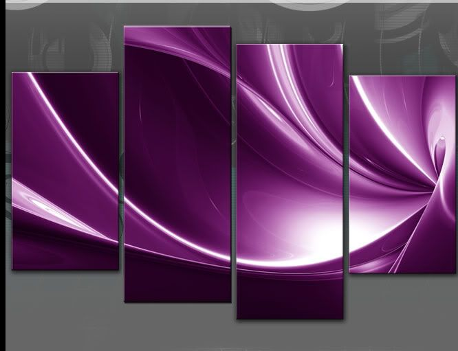 LARGE PURPLE ABSTRACT SPLIT CANVAS PICTURE 4 PANEL MULTI PANEL WALL ...