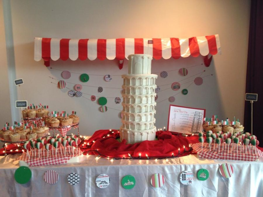 A Night In Italy Leaning Tower Of Pisa Houses Buildings Italian Party Decorations Italian Themed Parties Italian Party