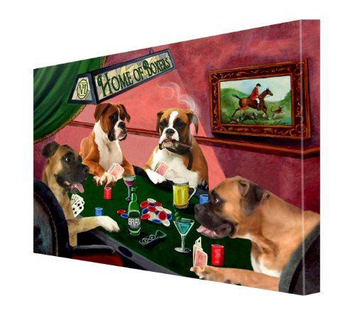 House Of Boxers Dogs Playing Poker Canvas 16 X 20 Doggie Of The