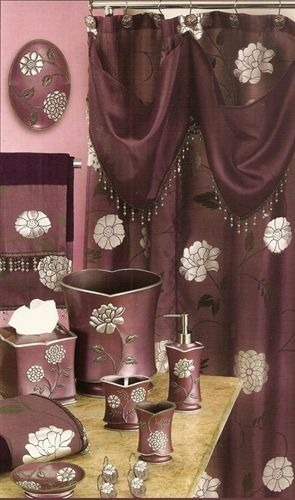 Avantie Purple Shower Curtain With Valance