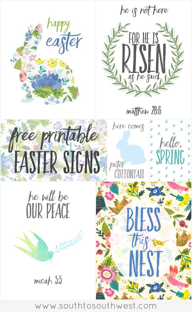 graphic about Happy Easter Sign Printable named Totally free Printable Easter Indicators Perfect of South toward Southwest