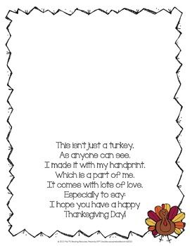 Turkey Handprint Poem