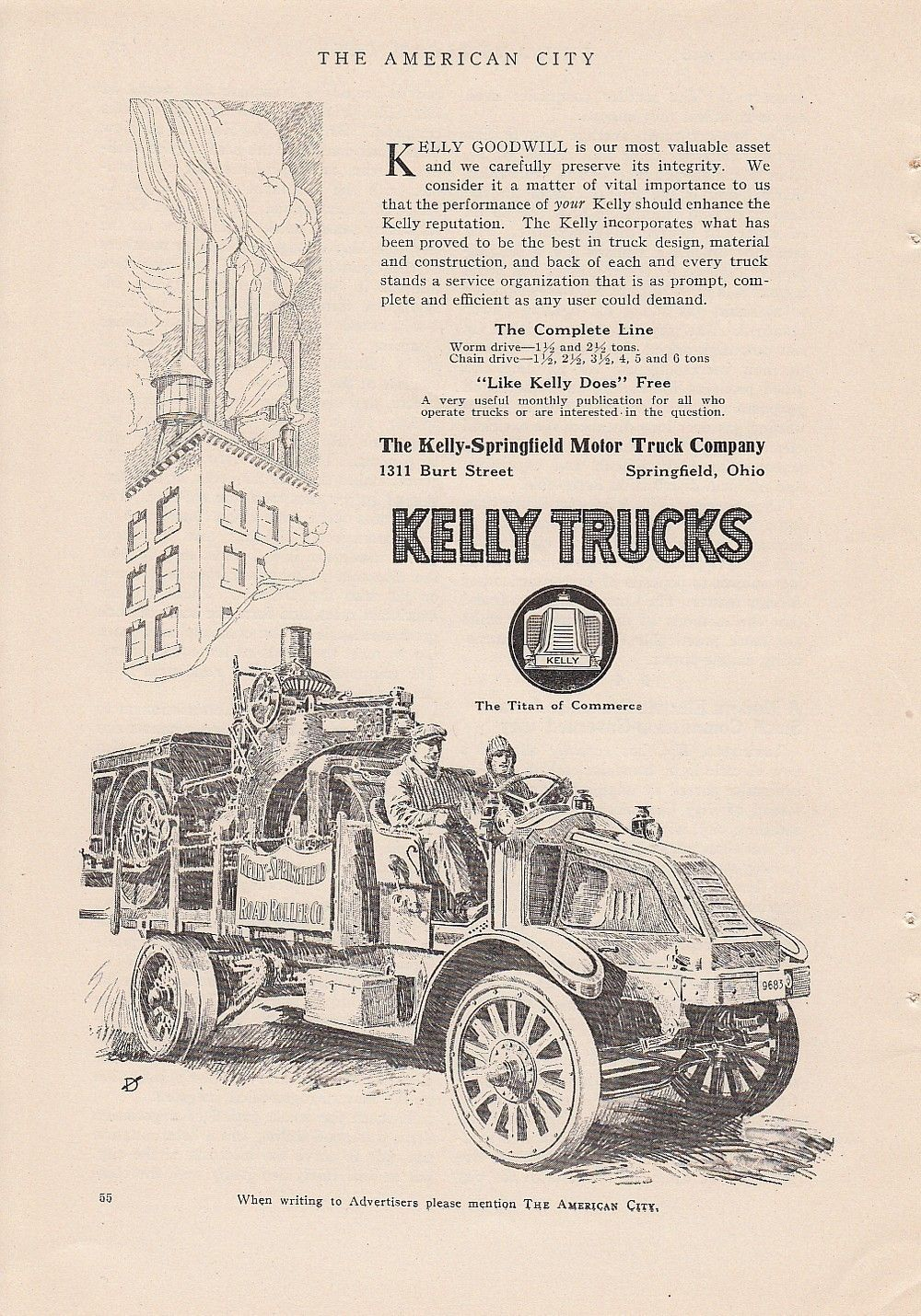 1916 Kelly Springfield Motor Truck Co Springfield Oh Ad Worm Chain