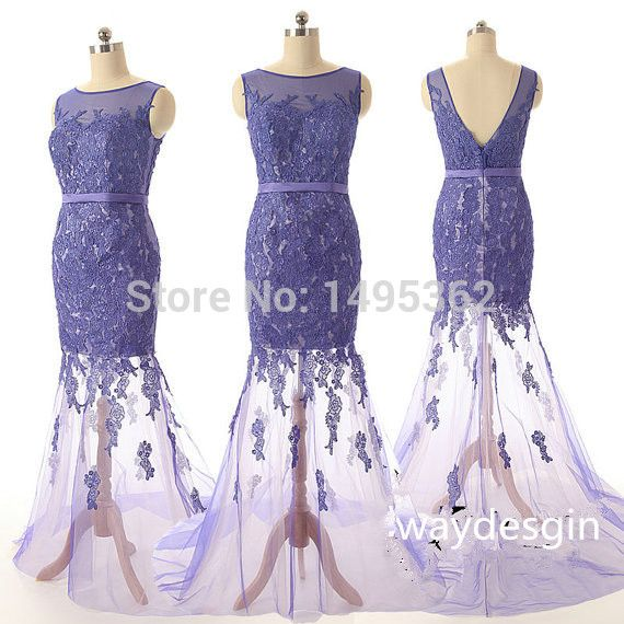 Sexy Scoop Neck V Back Tulle Elegant Custom Made Purple Mermaid Lace Prom Dresses 2015 Party Dresses