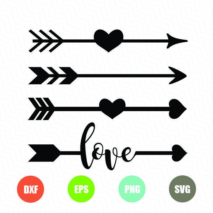 Download Arrows with hearts love arrow | Arrow svg, Arrow stencil ...