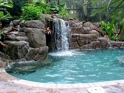 Above Ground Pool Landscaping Images Pool Waterfall Waterfalls Backyard Swimming Pools Backyard